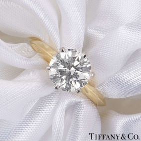 Tiffany & Co. Yellow Gold Round Brilliant Cut Diamond Ring 2.05ct D/VVS2